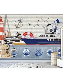 AJ Wallpaper 3D Ship 825 Wall Murals Removable Wallpaper Woven Paper