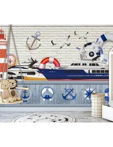 AJ Wallpaper 3D Ship 825 Wall Murals Removable Wallpaper Self-Adhesive Vinyl