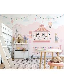 AJ Wallpaper 3D Pink Ferris Wheel 822 Wall Murals Removable Wallpaper Woven Paper