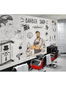 AJ Wallpaper 3D Barbershop 820 Wall Murals Removable Wallpaper Self-Adhesive Vinyl