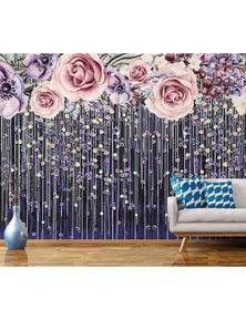 AJ Wallpaper 3D Rose Curtain 387 Wall Murals Removable Wallpaper Woven Paper