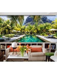 AJ Wallpaper 3D Swimming Pool Coconut 713 Wall Murals Removable Wallpaper Woven Paper