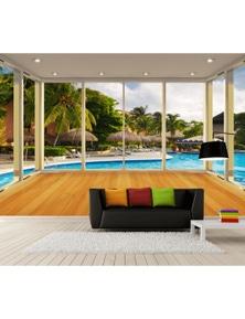 AJ Wallpaper 3D Swimming Pool 203 Wall Murals Removable Wallpaper Woven Paper