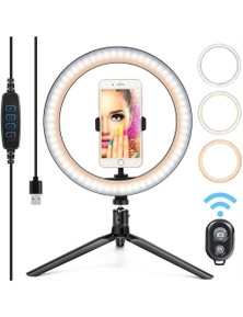LED Desktop Selfie Ring Light with a Tripod - 10 inch