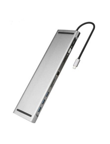 10-in-1 Type-C USB Hub Docking Station USB 3.0 to HDMI,Network Port,VGA and PD Expansion