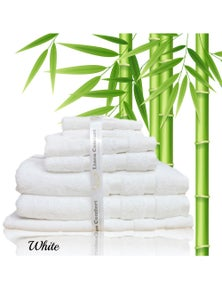 Linen Comfort Luxury Gift Packed Organic Bamboo Cotton 7 Pieces Bath Towel Set 600GSM Hypoallergenic