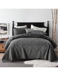 Linen Comfort Luxury Quilted Embroidery Coverlet Bedspread Set Comforter