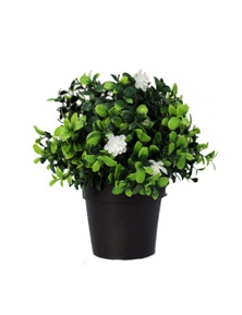 Designer Plants Small Potted Artificial Flowering Boxwood Plant UV Resistant