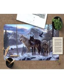 AJ 3D Snow Mountain Wolf 186 Non-Slip Office Desk Mouse Mat