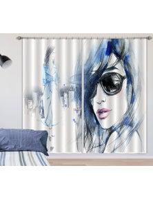 AJ 3D Sunglasses Girl 050 Blockout Photo Curtain