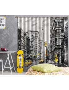 AJ 3D Building Taxi 039 Blockout Photo Curtain
