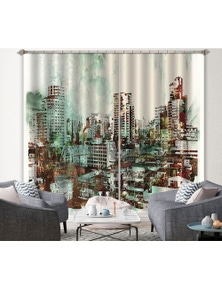 AJ 3D Green City Painting 029 Blockout Photo Curtain