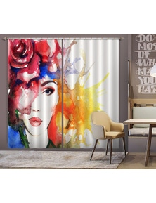 AJ 3D Red Rose Woman 013 Blockout Photo Curtain