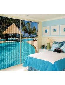 AJ 3D Seaside Swimming Pool 167 Blockout Photo Curtain