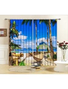 AJ 3D Beach Hammock Blockout Photo Curtain