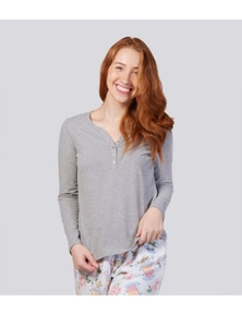 Magnolia Lounge Into The Woods Peached Cotton Long Sleeve Henley Tee