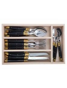 Andre Verdier Laguiole Debutant Stainless Steel Brass Cutlery Set Black 24Pc