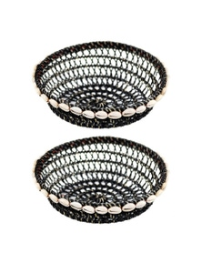 Hand-Woven 20cm Bowl w/ Shells 2x