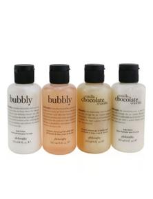 Philosophy Sweetest Party Favors 4-Pieces Git Set: Vanilla Chocolate Cumble (Shampoo, Shower Gel & Bubble Bath 120ml + Body Lotion 120ml ) +   Bubbly (Shampoo, Shower Gel & Bubble Bath 120ml + Body Lo