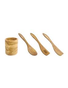Berard France Olive Wood Kitchen Utensil Canister and Utensils Set