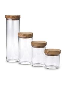 Berard France Set of 4 matching Olive Wood lid and Glass Storage jars