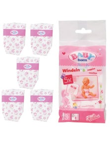 Baby Born Nappies For Baby Dolls - 5 Piece