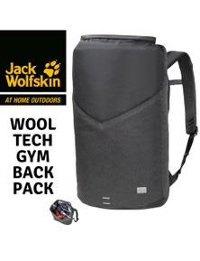 Jack Wolfskin Wool Tech Gym Bag Laptop Backpack Hiking Outdoor - Phantom