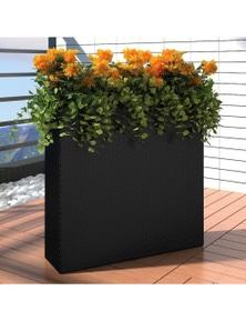 Rattan Rectangle Garden Planter Set