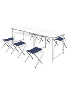 Foldable Aluminum Camping Table with 6 Stools