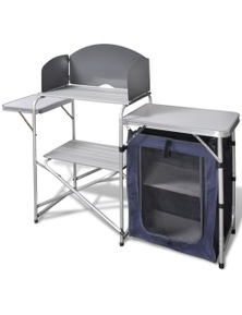 Foldable Aluminum Camping Kitchen Unit with Windshield