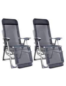Foldable/Adjustable Aluminum Camping Chairs with Footrest (Set of 2)