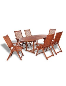 Extendable Wood Outdoor Dining Table Set (7 Pieces)