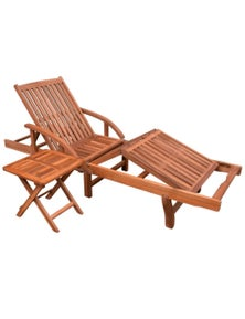 Solid Acacia Wood Sun Lounger and Table Set