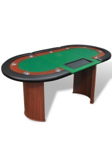 10-Player Poker Table With Dealer Area And Chip Tray