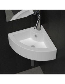 Ceramic Corner Bathroom Sink with Faucet & Overflow Hole