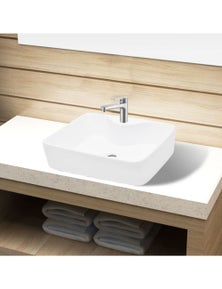 Ceramic Squared Bathroom Sink with Faucet Hole