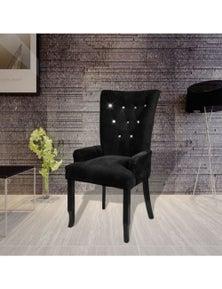 Velvet-Coated Wood Dining Armchair