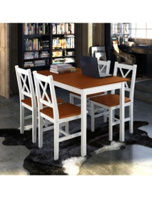 Wooden Table with 4 Wooden Chairs Furniture Set