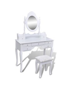 7-Drawer Dressing Table with Mirror and Stool