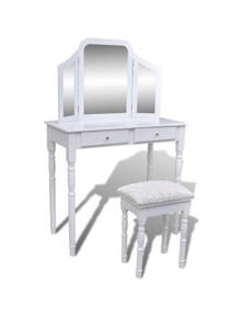 Dressing Table 2 Drawers With 3-In-1 Mirror And Stool