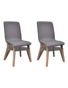 Oak Frame Fabric Dining Chairs (2 Pieces)