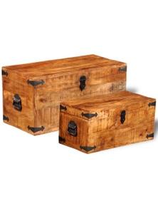 Rough Mango Wood Storage Chest (Set Of 2)