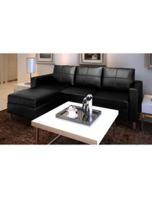 3-Seater L-Shaped Artificial Leather Sectional Sofa