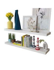 MDF Floating Wall Display Shelves Book Storage (2 Pieces)