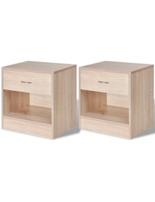 Bedside Cabinets With Drawer (2 Pieces)