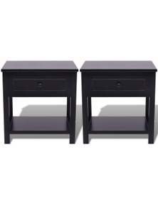 Bedside Cabinets Wood (2 Pieces)