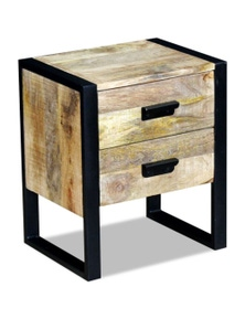 Side Table With 2 Drawers Solid Mango Wood