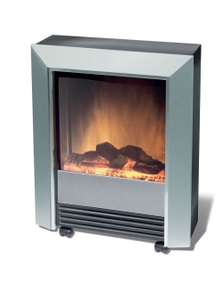 Dimplex Lee Silver Electric Fireplace Heater with Heat and Flame Effect