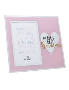 Mothers Day Gifts World's Best Mirror Photo Frame - Grandma