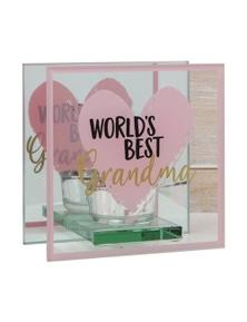 Mothers Day World's Best Glass Tealight Holder - Grandma